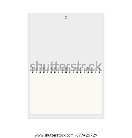 Realistic Wall Calendar Template Blank Empty Stock Vector Royalty