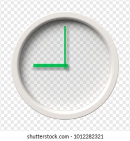 Realistic Wall Clock with transparent face showing nine oclock am or pm. Vector illustration.