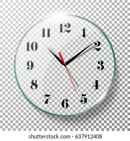 Realistic Wall Clocks Set Vector Illustration. Transparent Face. Black Hands. Ready To Apply. Graphic Element For Documents, Templates, Posters, Flyers.