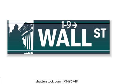Realistic Wall street vector sign