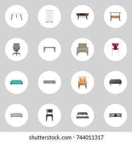 Realistic Wardrobe, Mattress, Comfortable And Other Vector Elements. Set Of Decoration Realistic Symbols Also Includes Sit, Table, Restaurant Objects.