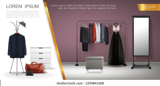 Realistic Wardrobe Room Elements Composition