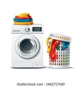 Realistic washing machine with fresh clean folded clothing and laundry basket with dirty cloth. Modern laundromat, 3d laundry, washing appliance for household chores. Vector bathroom equipment