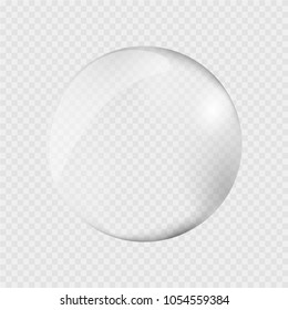 Realistic water drop. Pure, clean water drops. Water Rain. Gray background. Vector illustration