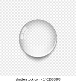 Realistic Water Drop with shadow isolated on transparent background. Water drop icon