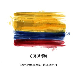 Realistic watercolor painting flag of Colombia . Vector .