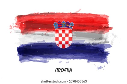Realistic watercolor painting flag of Croatia . Vector .