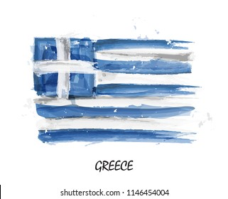 Realistic watercolor painting flag of Greece . Vector .