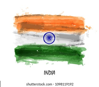 Realistic watercolor painting flag of India . Vector .