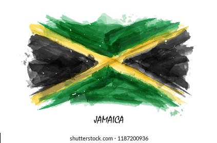 Realistic watercolor painting flag of Jamaica . Vector . ( Not auto trace . Use watercolour brush )
