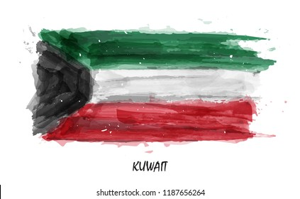 Realistic watercolor painting flag of Kuwait . Vector . ( Not auto trace . Use watercolour brush )