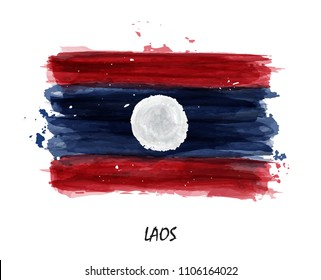 Realistic watercolor painting flag of Laos . Vector .