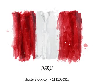 Realistic watercolor painting flag of Peru . Vector . ( Not auto trace . Use watercolor brush )