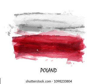 Realistic watercolor painting flag of Poland . Vector .