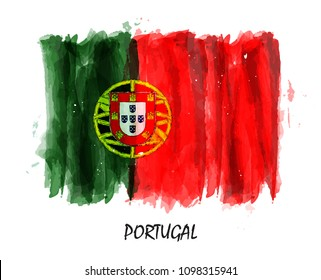 Realistic watercolor painting flag of Portugal . Vector .