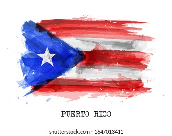 Realistic watercolor painting flag of Puerto rico . Vector .