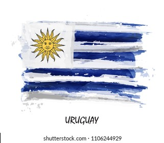 Realistic watercolor painting flag of Uruguay . Vector .