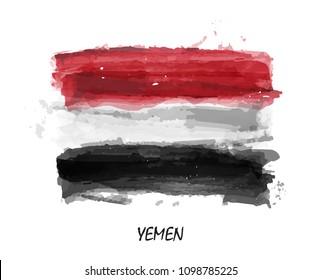 Realistic watercolor painting flag of Yemen . Vector .