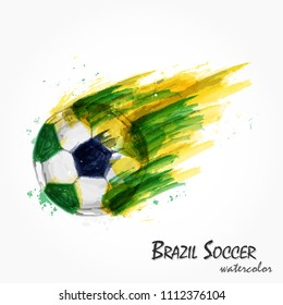 Realistic watercolor painting of powerful Brazil national football team or soccer shot . Artistic and sport concept . Vector for international world championship tournament cup 2018