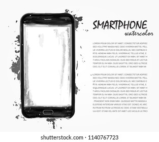 Realistic watercolor painting of smartphone with splash color . Artistic technological vector .