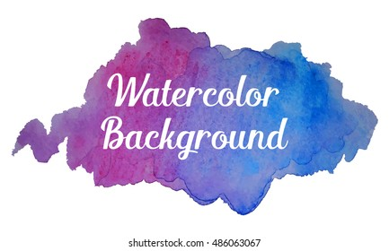 Realistic watercolor vector background in bohemian style. Watercolor spot in blue and purple colors. Hand drawn watercolor blob for boho design.