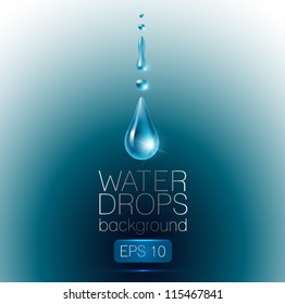 Realistic waterdrops on dark-blue background - vector illustration.