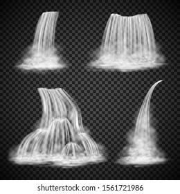 Realistic waterfall vector set isolated on transparency background, various water cascades, naturalistic waterfall design elements, motion blurred waterfall illustrations