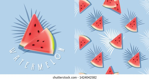 Realistic watermelon illustration and seamless pattern set on blue background