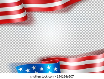 Realistic waving american flag on transparent background. USA symbol fo independence day holiday, election banner design. Vector symbol of democracy and freedom.