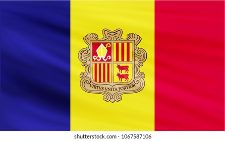 Realistic waving flag of the ANDORRA,Fabric textured flowing flag,vector EPS10