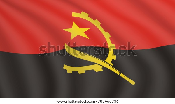 Realistic waving flag of Angola. Current national flag of Republic of Angola. Illustration of lying wavy shaded flag of Angola country. Background with angolan flag.
