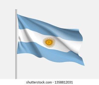 Realistic waving flag of Argentina. Illustration of South America country flag on flagpole. Vector 3d icon isolated on white background