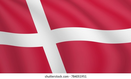 Realistic waving flag of Denmark. Current national flag of Kingdom of Denmark. Illustration of lying wavy shaded flag of Denmark country. Background with danish, dane flag. Dannebrog.