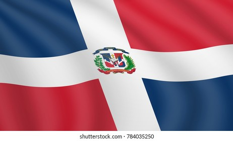 Realistic waving flag of Dominican Republic. Current national flag of Dominican Republic. Illustration of lying wavy shaded flag of Dominican Republic country. Background with dominican flag.