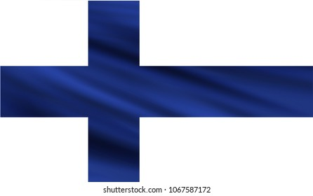 Realistic waving flag of the FINLAND,Fabric textured flowing flag,vector EPS10