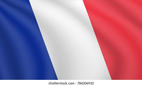 Realistic waving flag of France. Current national flag of French Republic. Illustration of lying wavy shaded flag of France country. Background with french flag. Tricolour.