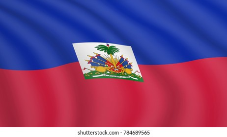 Realistic waving flag of Haiti. Current national flag of Republic of Haiti. Illustration of lying wavy shaded flag of Haiti country. Background with haitian flag. Bicolour.