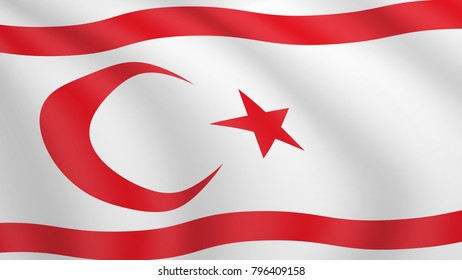 Realistic waving flag of Northern Cyprus. Current national flag of Turkish Republic of Northern Cyprus. Illustration of lying wavy shaded flag of TRNC country. Background with cypriot flag.