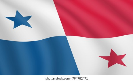 Realistic waving flag of Panama. Current national flag of Republic of Panama. Illustration of wavy shaded flag of Panama country. Background with panamanian flag.