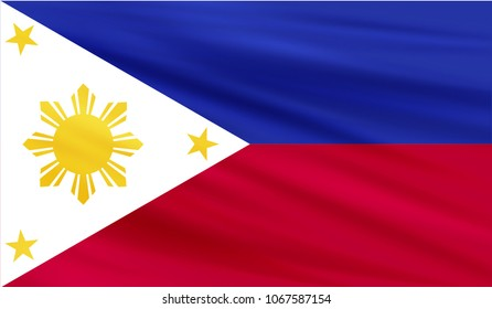 Realistic waving flag of the PHILIPPINES,Fabric textured flowing flag,vector EPS10