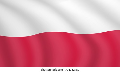 Realistic waving flag of Poland. Current national flag of Republic of Poland. Illustration of wavy shaded flag of Poland country. Background with polish flag.