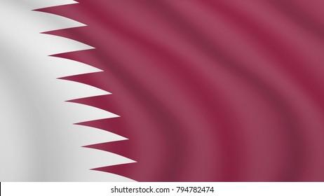 Realistic waving flag of Qatar. Current national flag of State of Qatar. Illustration of wavy shaded flag of Qatar country. Background with qatari flag. Al-Adaam.
