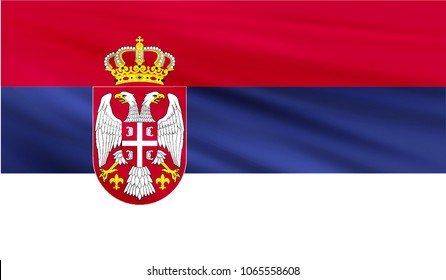 Realistic waving flag of the SERBIA,Fabric textured flowing flag,vector EPS10