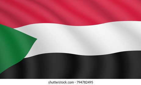 Realistic waving flag of Sudan. Current national flag of Republic of the Sudan. Illustration of wavy shaded flag of Sudan country. Background with sudanese flag.