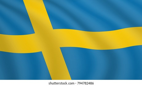 Realistic waving flag of Sweden. Current national flag of Kingdom of Sweden. Illustration of wavy shaded flag of Sweden country. Background with  swedish flag.