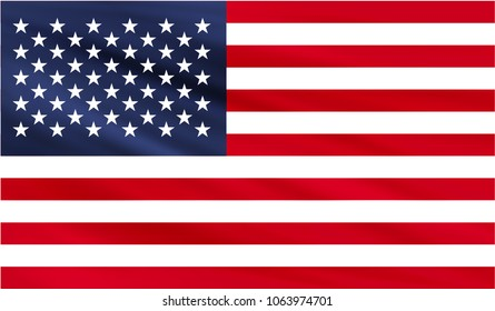 Realistic waving flag of the United States of America,Fabric textured flowing flag,vector EPS10