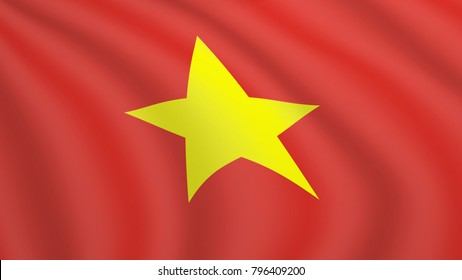 Realistic waving flag of Vietnam. Current national flag of Socialist Republic of Vietnam. Illustration of lying wavy shaded flag of Vietnam country. Background with vietnamese ensign.