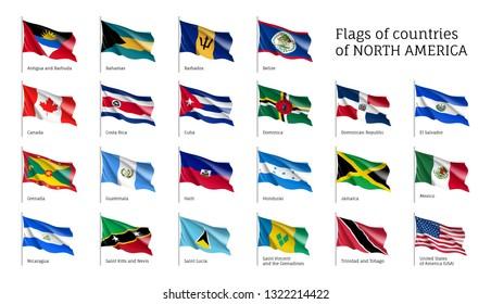 Realistic waving flags of North America continent. USA, Canada, Cuba, Dominica, Guatemala, Haiti, Nicaragua, Grenada, Honduras, Bahamas flag on flagpole. Patriotic symbols isolated vector illustration