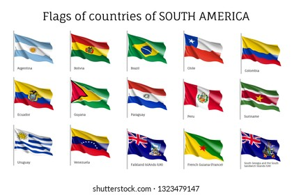 Realistic waving flags of South America continent. Argentina, Bolivia, Brazil, Chile, Colombia, Peru, Uruguay 3d flag on flagpole. Patriotic symbols vector illustration. National countries identity