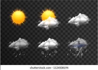 Realistic weather icons set isolated on transparent background vector illustration